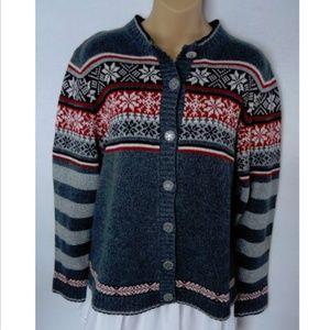 Woolrich Fair Isle Cardigan Sweater Petite